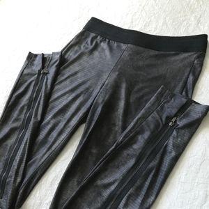 BCBG Snakeskin Print Leggings Gunmetal Black Long
